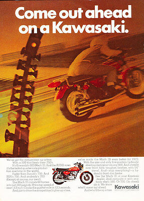 1972 Kawasaki 500 Mach III - Motorcycle - Classic Vintage Advertisement Ad D166