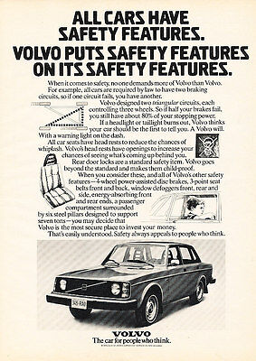 1974 Volvo Safety - Features - Classic Vintage Advertisement Ad D175