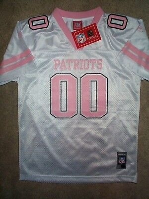 bb84a38a PINK NEW ENGLAND Patriots #00 nfl REEBOK Jersey Youth *GIRLS*  (L-LG-LARGE-14)
