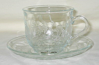 Arcoroc USA Embossed Floral & Scroll Design Cup & Saucer