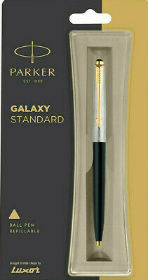 Parker Galaxy GT Gold Trim Rollerball Pen Black Body Blue Ink Frontier Vector