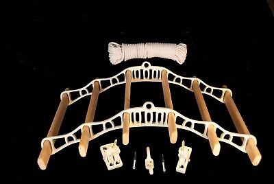 6 Lath Victorian Kitchen Ceiling Pulley Clothes Airer Maid Laundry Dryer Rack