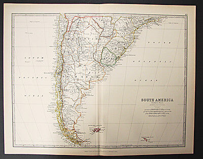 1888 Royal Atlas map - South America (Southern Sheet)