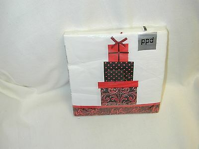 Gifts Red Paper Lunch 20 Napkins By Ppd-New