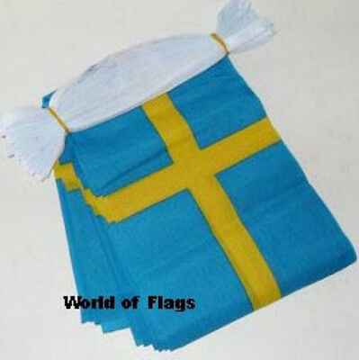 SWEDEN FLAG BUNTING Swedish 9m 30 Polyester Party Flags Europe European