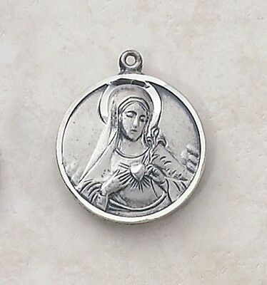 "NMC 3/4"" Womens Sterling Silver Round Sacred Heart Virgin Mary Madonna Medal"