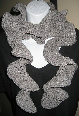 Gray Ruffle Scarf~hand crochet~Ladies Accessories Teens Designer Scarves