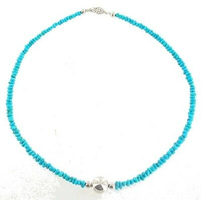Vintage Sterling Ball + 3.5Mm Kingman Turquoise Bead Necklace 18""