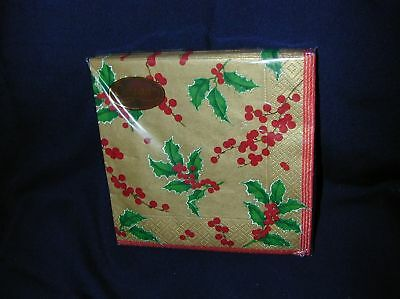 Caspari Holly And Berries Gold Color Paper Napkins-New
