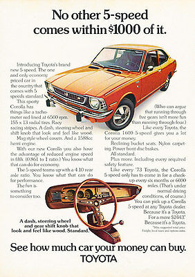 1973 Toyota Corolla 1600 - Money - Classic Vintage Advertisement Ad D184