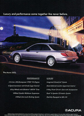 1999 Acura 3.0CL - Moon - Classic Vintage Advertisement Ad D185