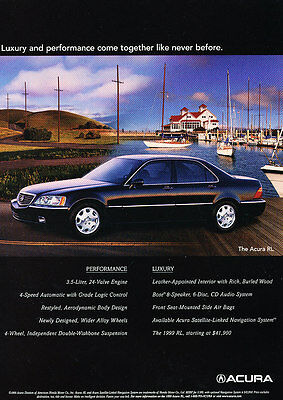 1999 Acura RL - Dock - Classic Vintage Advertisement Ad D185
