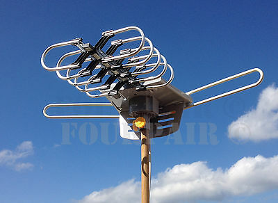 HDTV 1080P Outdoor Amplified Motorized Antenna HD TV 36dB UHF VHF FM 150 Miles