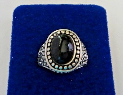 size 8 Sterling Silver 7gr 16x13mm Oval top with Dots Black Onyx wide band Ring