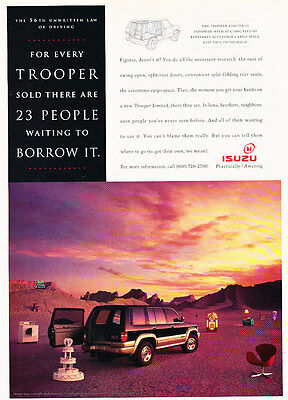 1995 Isuzu Trooper - Borrow - Classic Vintage Advertisement Ad D186