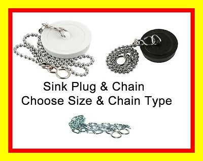 "Basin Sink Bath Plug With Choice of Chain 1.5"" or 1.75"""