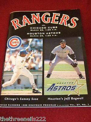 PROGRAMME - TEXAS RANGERS v CHICAGO CUBS & HOUSTON ASTROS - MARCH 1998