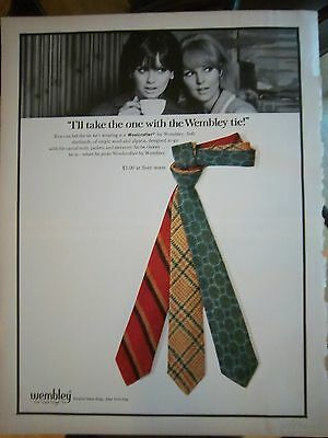 1967 Vintage Necktie I'll Take the One with the Wembley Tie Fashion Ad