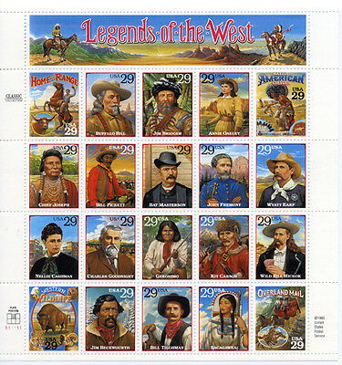 US Scott # #2869 Legends of the West  Sheet of 20 MNH **FREE SHIP***