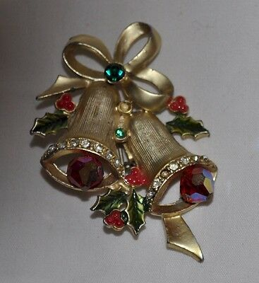 """VINTAGE 2.5"""" silver Christmas bell brooch pin red  jewell  gong"""