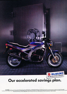 1991 Suzuki GS500E Motorcycle - Vault - Classic Vintage Advertisement Ad D189