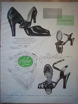 1952 Vintage Accent Shoe Co Womens Patent Leather High Heels Ad