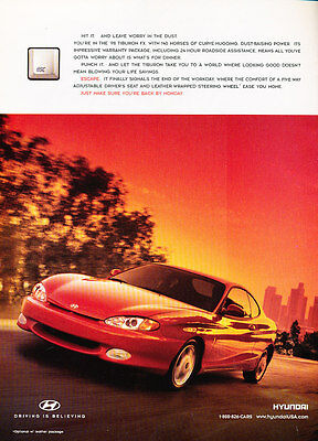1998 Hyundai Tiburon - Worry - Classic Vintage Advertisement Ad D190