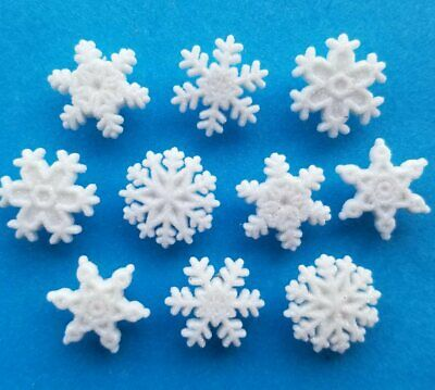 GLITTER SNOWFLAKES - White Snowy Snowing Winter Christmas Themed Craft Buttons