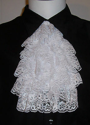 WHITE LACE CRAVAT Cuffs option Vampire Pirate Victorian Costume Jabot Neckwear
