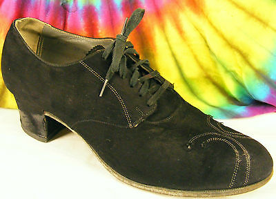 7-7.5 vintage 40's  black suede leather BAREFOOT FREEDOM lace-up oxfords shoes