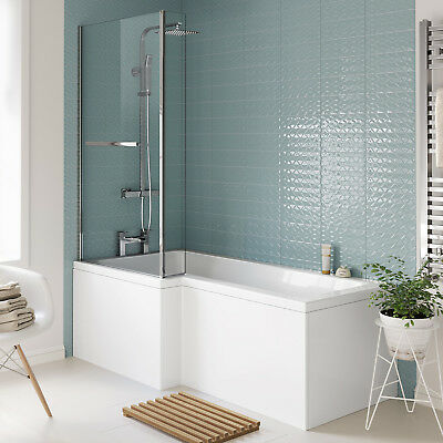 1700mm Left Hand L Shaped Shower Bath Designer Bathtub & Screen + Towel Rail