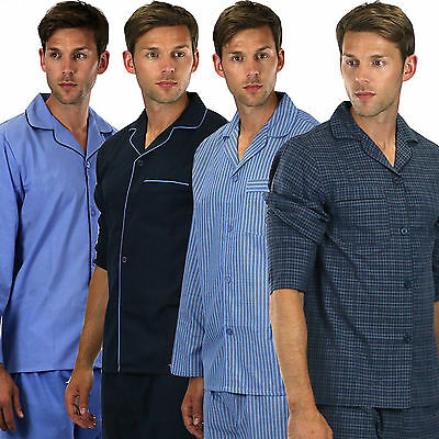Mens Plain Poly Cotton Pyjama PYJAMAS Traditional gents button  Sizes s- xxxxl