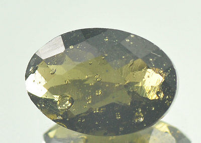 MOLDAVITE FACETED OVAL CUTTED GEM 12.8x8.9mm CUT 3.3ct #BRUS398