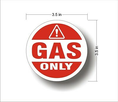 Industrial Highway Vehicle Safety Decal Sticker GAS ONLY warning label