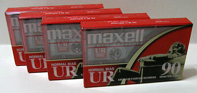 4 - Maxell UR Type I 90 Min Normal Bias Blank Audio Cassette Tapes New NIP