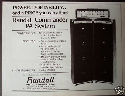 1977 vintage Ad Randall Commander PA System