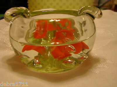 St Clair marked Glass Ashtray paperweight multicolor