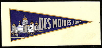 DES MOINES IOWA Vintage Water Slide Decal PENNANT Unused NOS
