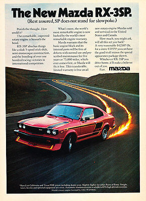 1977 Mazda Rx-3 RX3-sp - fire -  Classic Vintage Advertisement Ad A68-B