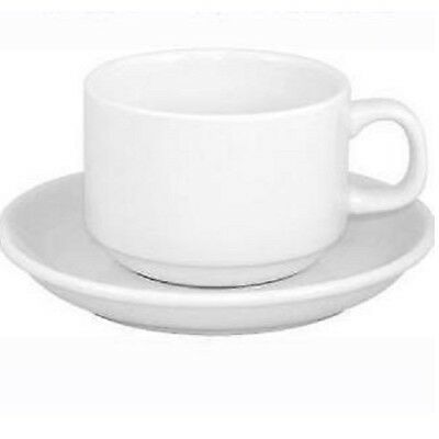 Box Of 48 White Stacking Catering Cups & Saucers
