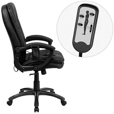 NEW! DUAL ZONE REMOTE MASSAGING HIGH BACK BLACK LEATHER HOME OFFICE DESK CHAIRS
