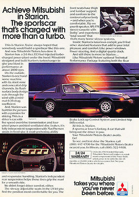 1983 Mitsubishi Starion - Charged - Classic Vintage Advertisement Ad D193