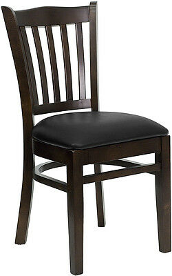 Walnut Wood Frame Vertical Slat Back Restaurant Chair with Black Vinyl Seat