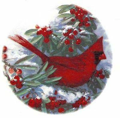 Winter Cardinal Bird Snow Red Berries Select Size Ceramic Waterslide Decals Xx