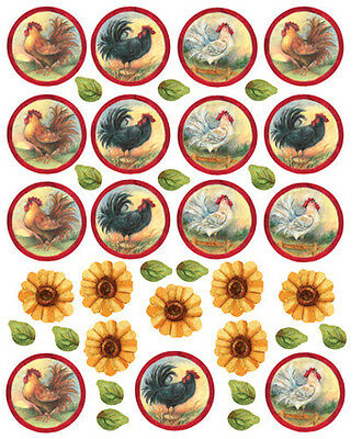 WALLIES ROOSTERS U0026 SUNFLOWERS Wall Stickers 38 Decals Room Decor Country