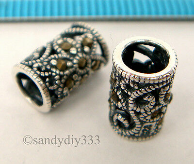 1x ANTIQUE STERLING SILVER MARCASITE STONE FLOWER TUBE SPACER BEAD 6.5mm #1756
