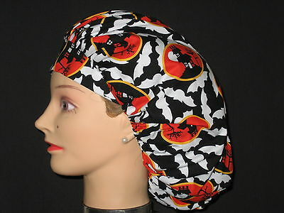 Surgical Scrub Hats/Caps~Halloween~Flying bats & Haunted Houses~