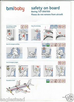 Safety Card - bmibaby - B737 300 500 - No 2nd Code (S3251)