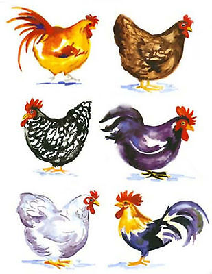 6 Different Barnyard Rooster Fowl Set Select-A-Size Ceramic Waterslide Decals Bx