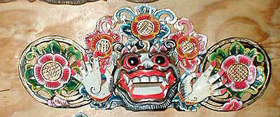 """Mask Bali Hindu Boma Mask Great for Entrance way Hand carved 16"""" WHITE"""